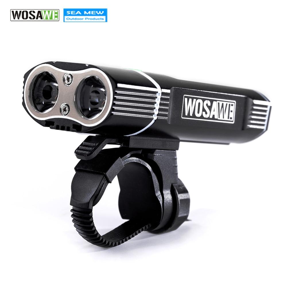 WOSAWE 충전식 LED 자전거 라이트 USB 핸들 바 램프 18650 - 사이클링