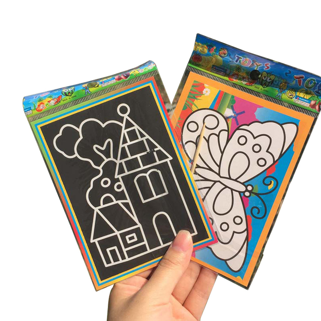 20pcs/set kids scratch Drawing paper Two in one Magic Color Scratch ...