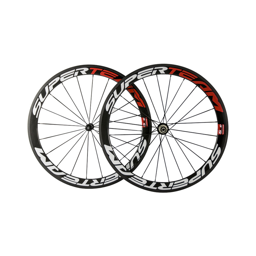 SUPERTEAM 50mm Carbon Road Bicycle Wheelset 23mm Width Clincher Glossy Carbon Bike Wheel with Quick Release EMS Shipping free painting clincher 88mm carbon fiber straight pull road bicycle wheel 23mm width wholesale