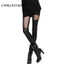 CHRLEISURE S-XL Sexy Women Leather Stitching Leggings Fashion Mesh Black Leggings Women Punk Roce Leather Legging Punk Gothic