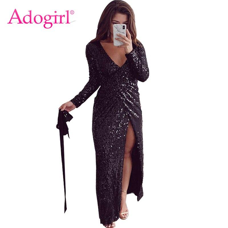 Adogirl блёстки Макси вечернее платье для женщин обертывание V шеи длинный рукав высокий разрез Bodycon Клубные платья Одежда для выступлений