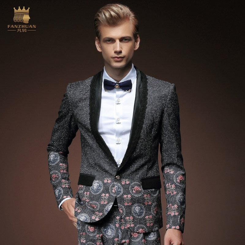 2015 New Designers Brand Fashion Printed Blazer Men Casual Suit ...