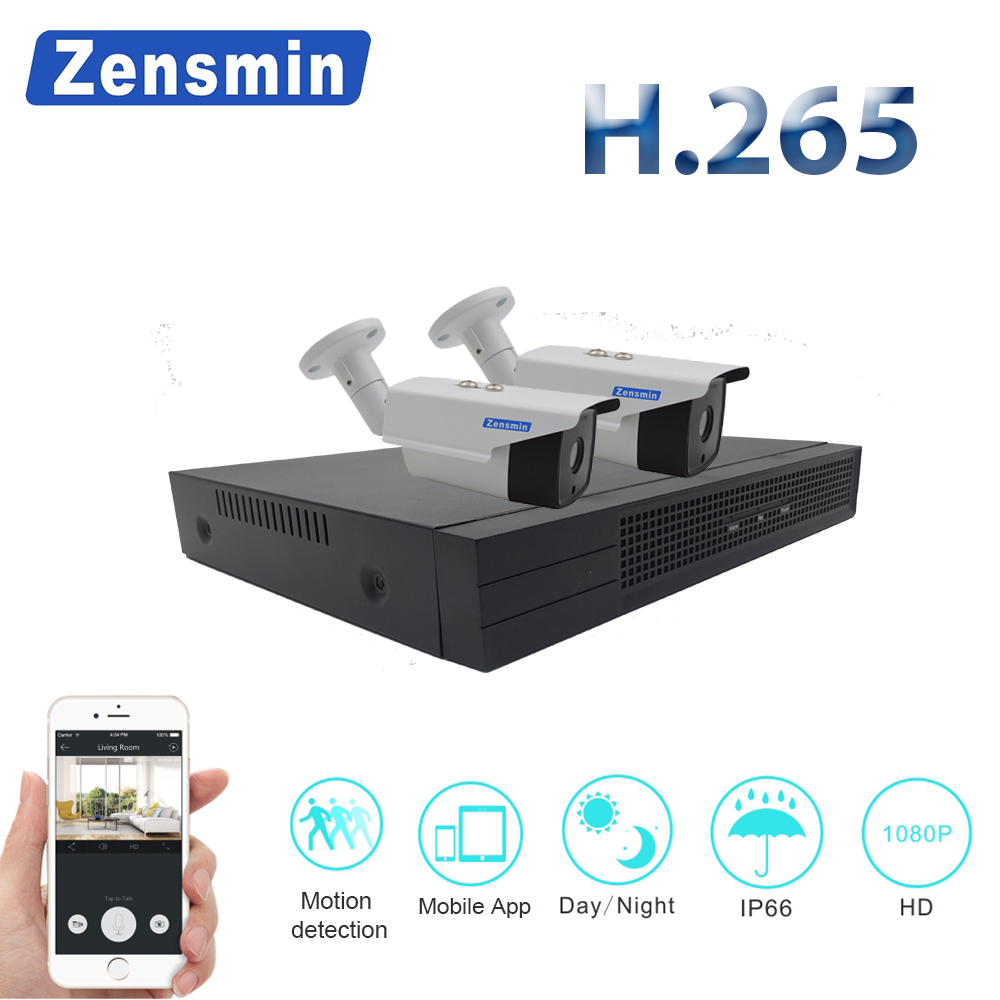 Zensmin 4CH 1080P HDMI NVR Kit POE CCTV Camera System 2MP 1080P IP Camera Outdoor Waterproof P2P Video Security Surveillance Set 4ch wireless nvr kit 13 lcd monitor screen waterproof 1080p 2mp security cctv ip camera wifi p2p video surveillance system set