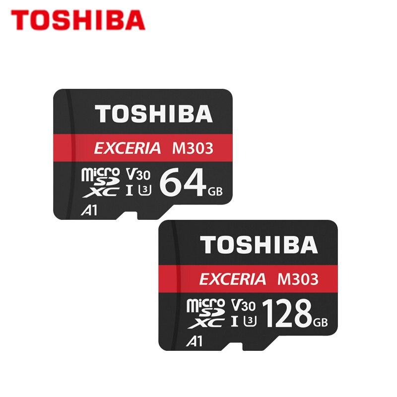 100% Original TOSHIBA EXCERIA M303 64 Cartão Micro SD GB U3 V30 98MB 128GB Cartão de Memória de Alta Velocidade a1 UHS-I TF Cartão Para 4k Vídeo