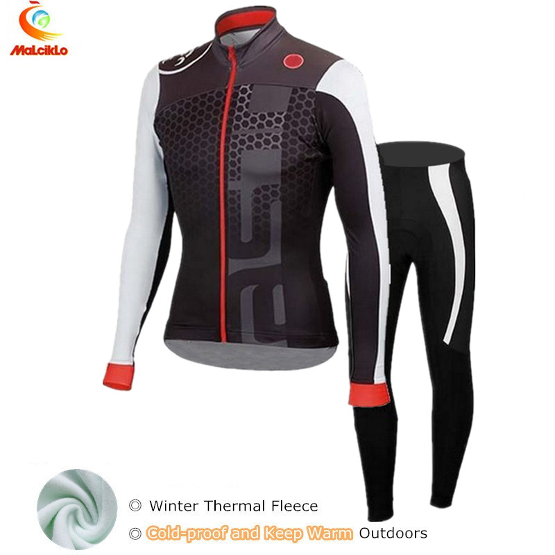 High Quality Maillot Cycling Sets Winter Thermal Fleece Long sleeve Cycling Jersey Ropa Ciclismo Mountain Bike Wear Clothing top quality 2017 sky cycling jersey set long sleeve jacket tight cycling clothing wear breathable ropa ciclismo bike jerseys