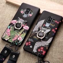 Для samsung galaxy s8 s9 plus note 8 чехол Роскошный 3d рельеф птица красный коронованный кран с кольцом и ремешком задняя Сумка для телефона