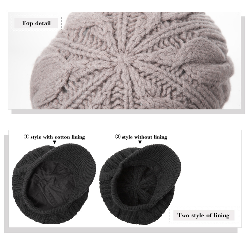 661f4a86384 FANCET Women Knitted Newsboy Cap Beanie Winter Hat 100% Merino Wool Autumn  for Girl Visor Thick Cabbie Duckbill Caps 10120-in Newsboy Caps from  Apparel ...