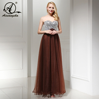 Elegant Crystal Beaded Bridesmaid Dresses Tulle A Line Sweetheart FloorLength Sequined Cheap Real Photo New Arrival