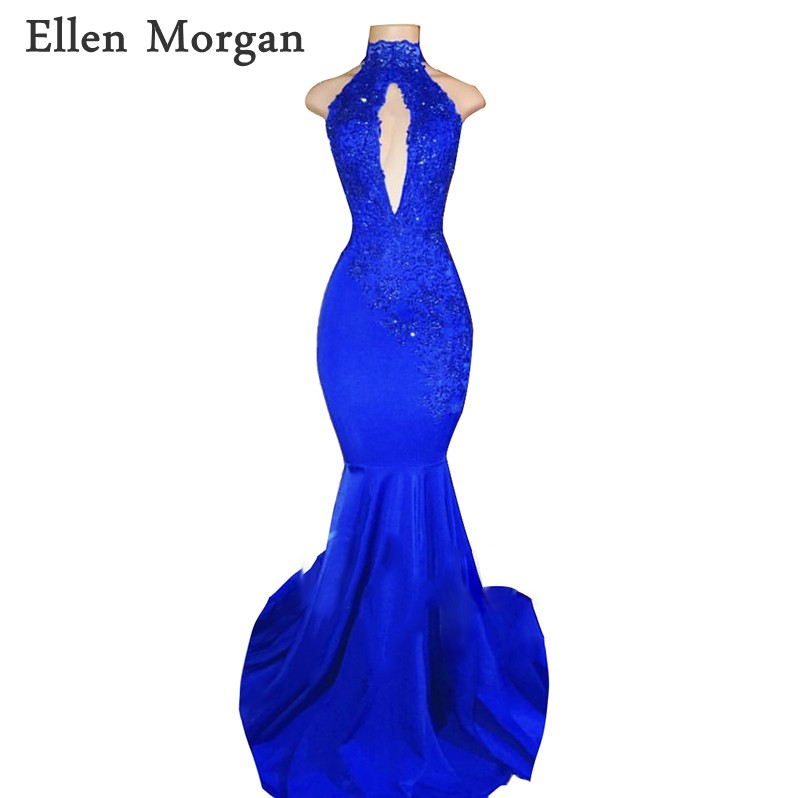 Vestidos de Baile Meninas com Renda sem Costas Royal 2020 para Africano Azul Alta Pescoço Sereia Preto Frisado Sexy Longo Vestido Festa