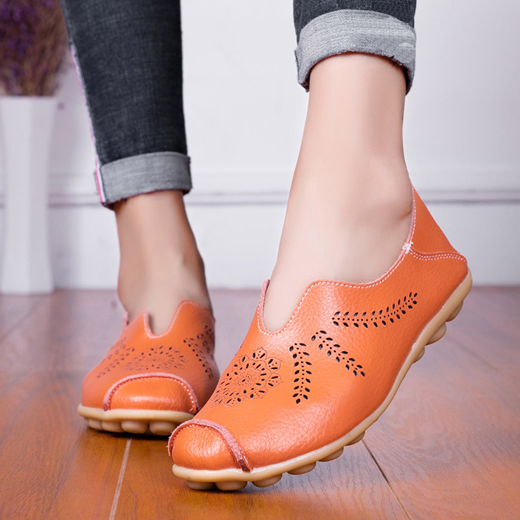 Leisure Women Round Toe Hollow Slip-On Shoes Flat Single Shoes Peas Boat Shoes Shoes Woman Zapatos De Mujer Sapato Feminino 5