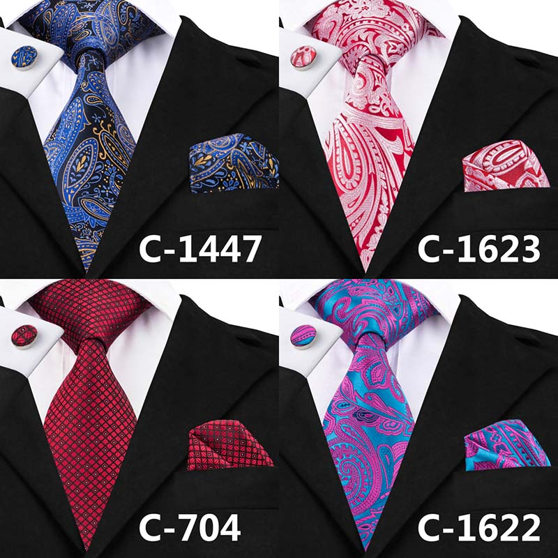 Black Dimgray Red Geometric Print Necktie Set for Men