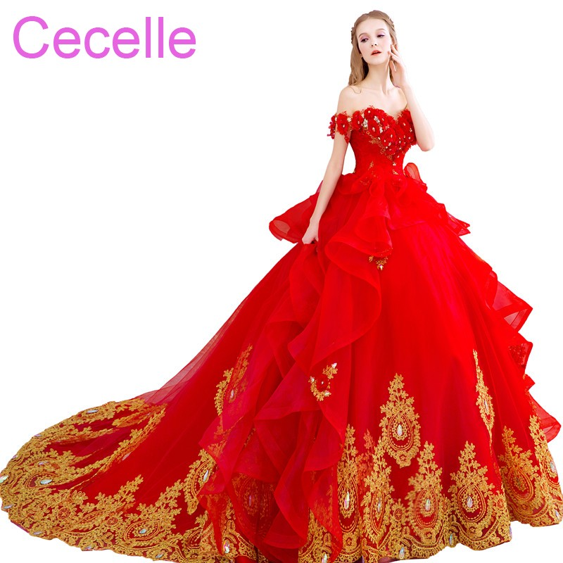 Non Traditional Red Wedding Dresses: Red Gold Ball Gown Wedding Dresses Off The Shoulder Lace