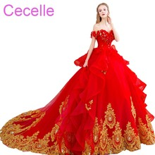 cecelle Red Gold Ball Gown Wedding Dresses Gowns