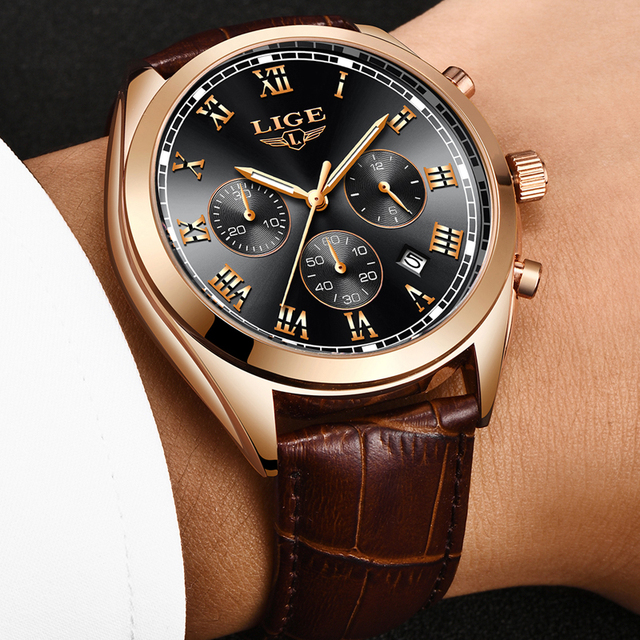 Luxury Waterproof 24 Hour Date Male Leather Relogio Masculino Sports Watch 2