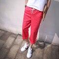2016 новинка весна лето англии стиль простой диких цветов конфеты троса брюки мужчины свободного покроя красные штаны мужчины брюк, M-xxl