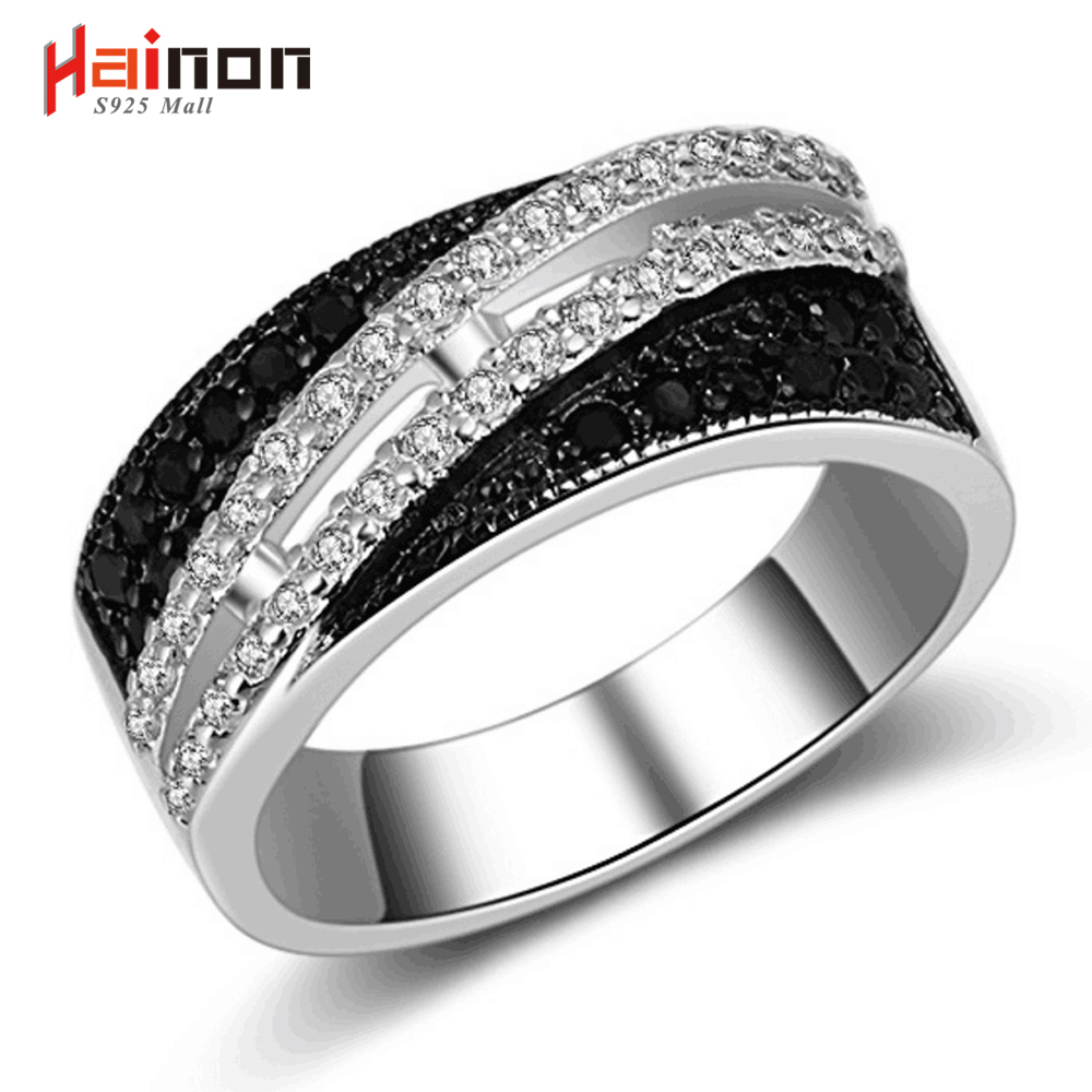 Hainon Women Black Zirconia Wedding Ring Lady Jewelry Fashion Luxury - Նորաձև զարդեր - Լուսանկար 1