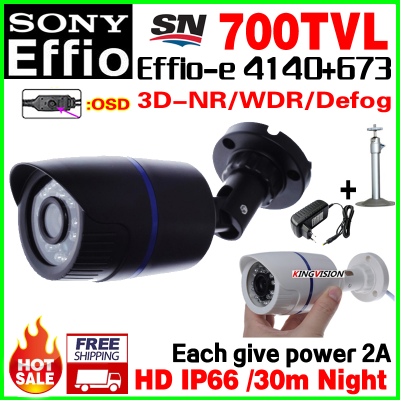Give 2A Power!CCd Security Surveillance hd Cctv Camera Outdoor Waterproof IP66 1/3Sony Effio 700VL OSD meun vidicon with bracket give 2a power hd 1 3sony effio e ccd 700vl security surveillance dome cctv camera osd meun blue 24led hd night vision vidicon