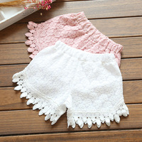 White Pink Baby Girl Kids Shorts New Girl Summer Shorts Crochet Flowers Girls Baby Floral Lace