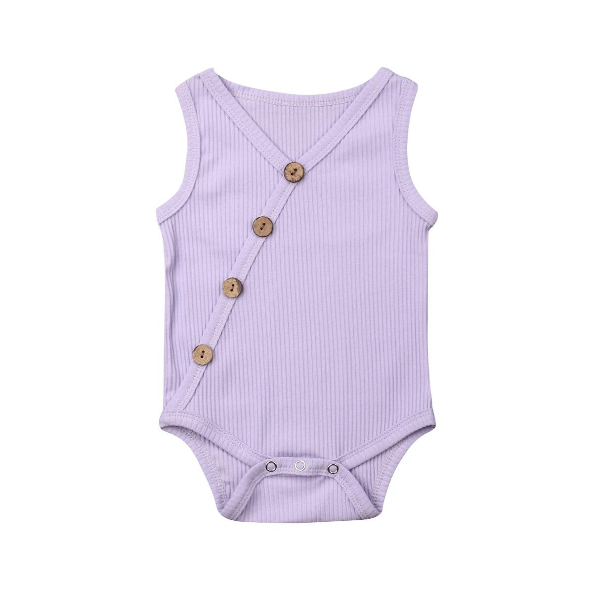 Summer Newborn Toddler Boy Girl Solid Jumpsuit Cotton Romper Sleeveless Button Outfit Summer Newborn Toddler Boy Girl Solid Jumpsuit Cotton Romper Sleeveless Button Outfit