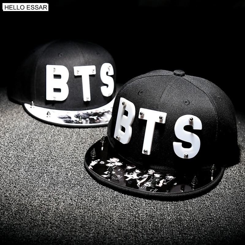 Letter BTS Star Hat Cap hot sale rivet cap baseball hats fitted hat Casual cap panel hip hop hat cap student #70005