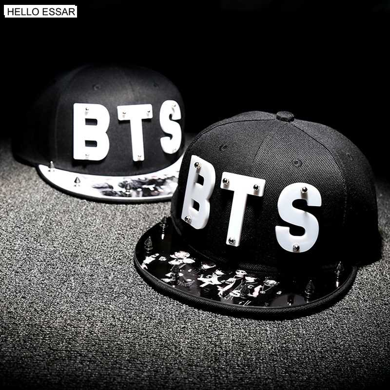 925df0a9e8a Detail Feedback Questions about Letter BTS Star Hat Cap hot sale rivet cap  baseball hats fitted hat Casual cap panel hip hop hat cap student  70005 on  ...