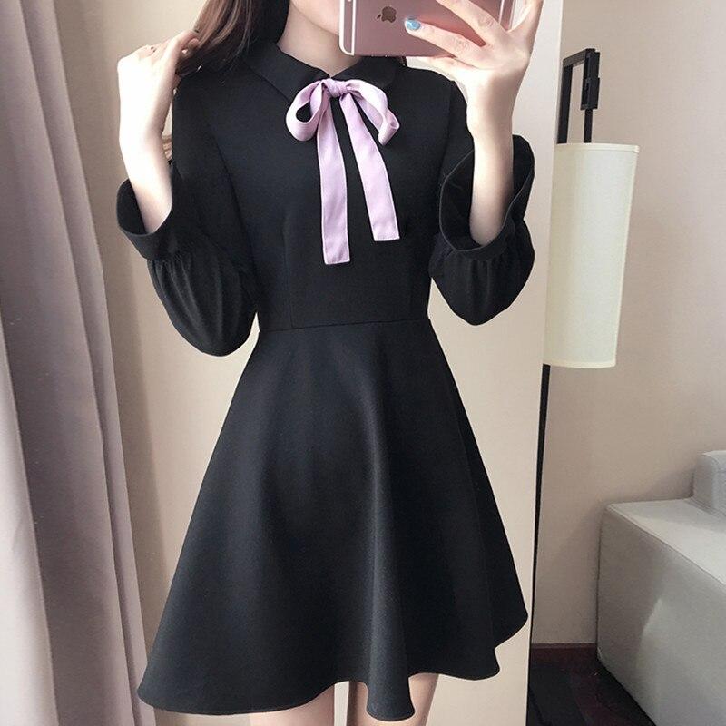 Autumn new women s fashion small bow high waist medium long a black one piece dress