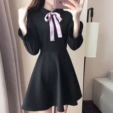 Autumn new women's fashion small bow high waist medium-long a black one-piece dress free shipping