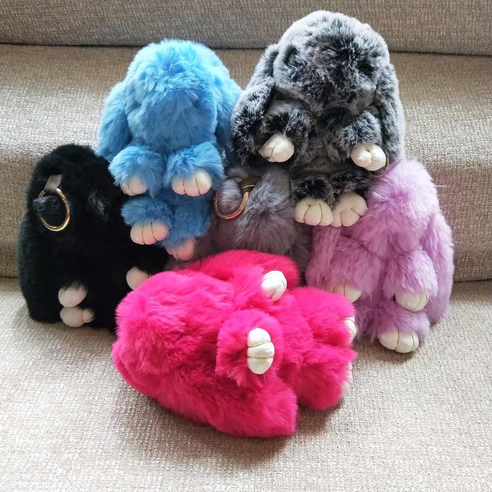 Pluff bonito Chaveiro Coelho Faux Rex Rabbit Fur Chaveiros para As Mulheres Saco de Brinquedos Boneca Fofo Pom Pom Pompom Lindo chaveiro