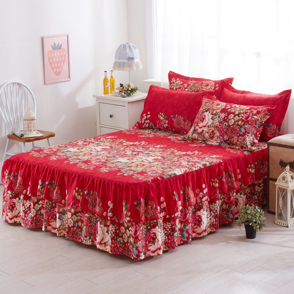 150x200cm Floral Fitted Sheet Cover Graceful Bedspread Lace Fitted Sheet Bedroom Bed Cover Skirt Wedding Housewarming Gift   36