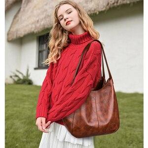Image 3 - 2019 Vintage kadın omuzdan askili çanta kadın nedensel tote çanta büyük kapasiteli lüks tasarımcı yüksek kaliteli bayan çanta kesesi Femme
