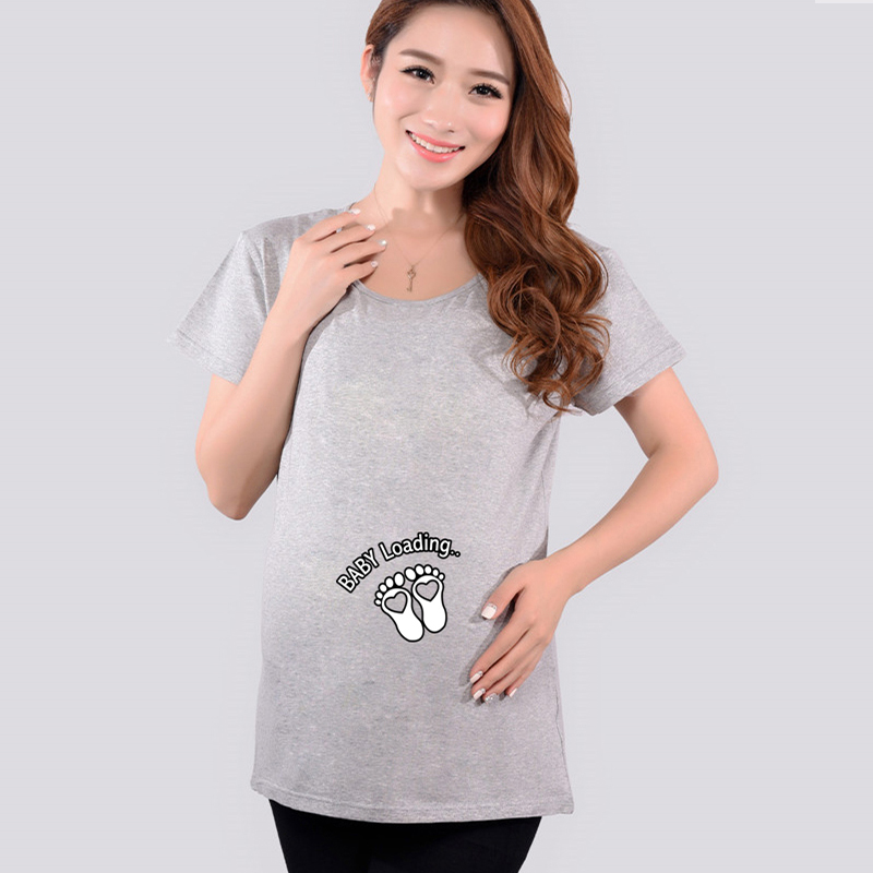 Xiyunle Funny Maternity Shirts Baby Loading T-Shirt Pregnant Women Tops Tees Clothes Premama Wear Clothing Pregnancy T Shirt