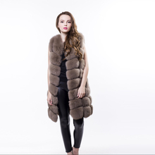 S M L XL XXL Winter fur coat long section 2016 new fashion leather 100% imported fox vest jacket