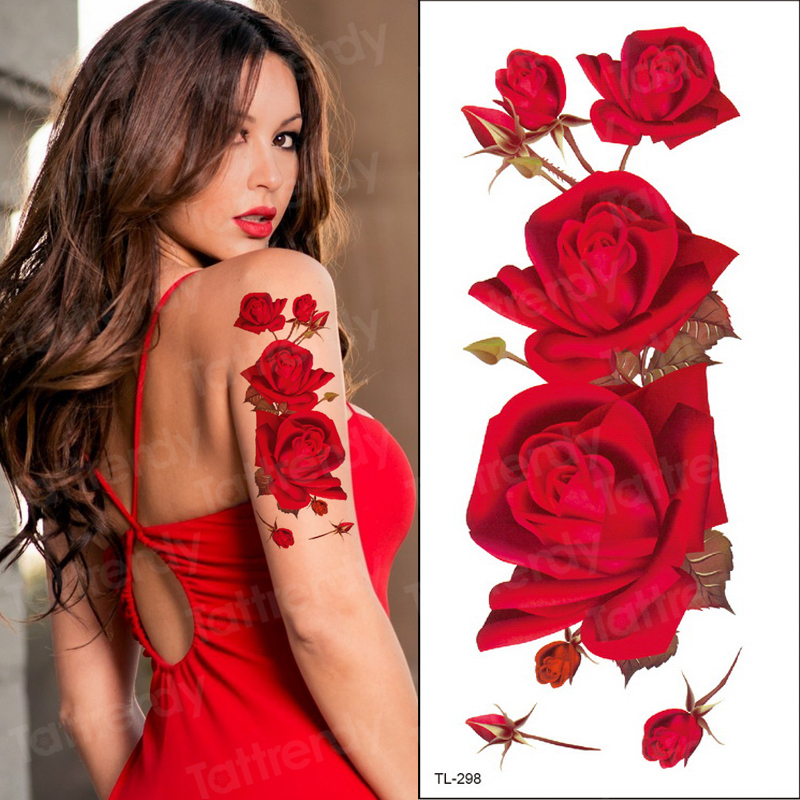 Red Color Rose Tatoo Blossom Flower Brand New Fashion Waterproof Temporary Tattoo Sticker Tatoo Girls Tatto Women Fake Henna