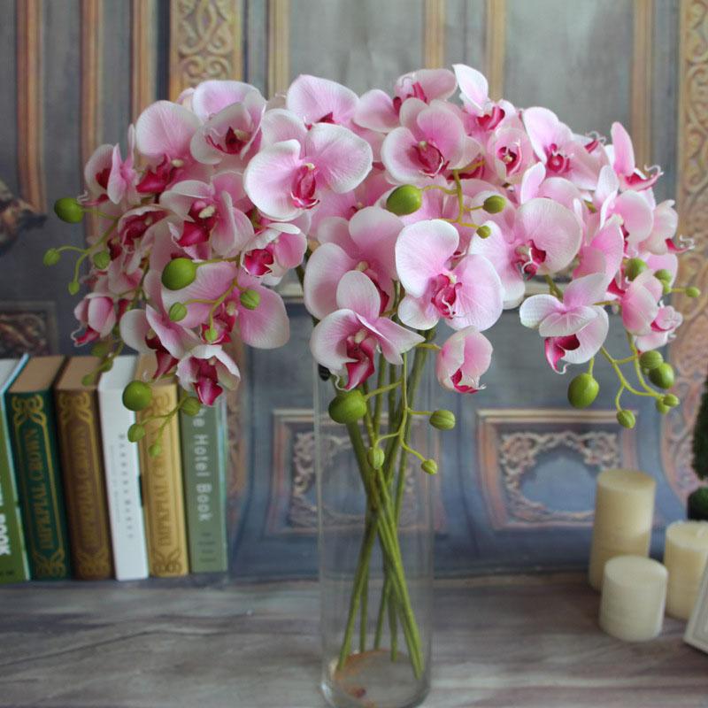 Konstgjorda fjäril Orchid Stora blommor för Alla hjärtans dag Present Silke Blommor för ett Bröllop Fake Blommor för Heminredning