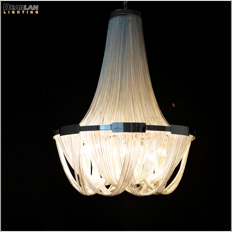 French Empire Chain Chandelier Light Fixture For