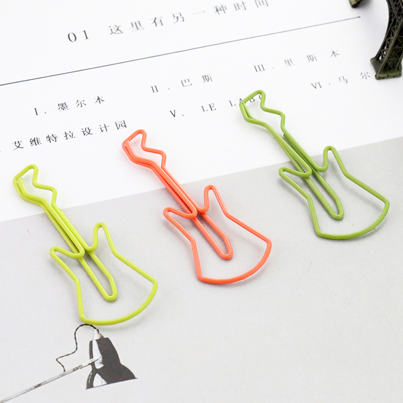 TUTU 9pcs / Lot Violin Paper Clips Metal Material Shape Violin Bookmark Memo H0054