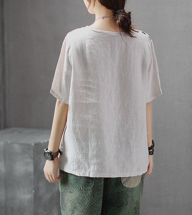 Vintage Coton Linge Chemisier Femmes Lâche Manches Courtes Blouses Top Femmes décontracté Patchwork Blanc Chemisier Chemises - 3