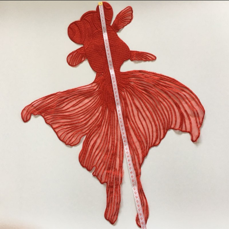 1 piece of patch embroidered appliques sew on gold fish black red patches in Patches from Home Garden