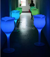 H110CM rechargeable colorful LED huge Rose flower floor lamp, IR control Tulip Shape glowing Table Landscape Lighting outdoor