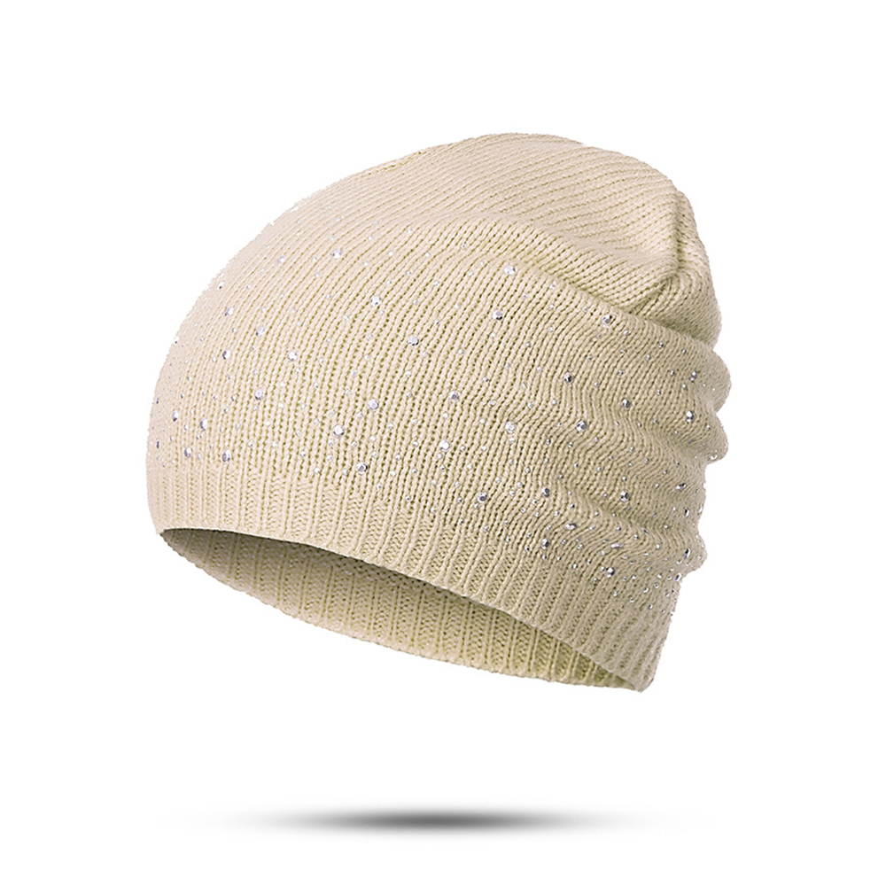 Women Fashion Diamonds Glistening Knitted Cotton Cap Diamonds Glistening Hats Winter Warm Skullies Beanies Christmas Gift