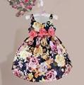 Лето цветочный печати платья девушки шелковый лук ремень черный цветочные новорожденных девочек одеваться для 6М-5Y vestido де феста