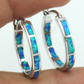 2016 New Style Earring with Ocean Blue Fire Opal Stone Women Hoop Earrings 20mm + Free Shipping With Tracking Number