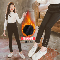 New Winter Black Plus Velvet Thickening Slim Jeans Girls Trousers