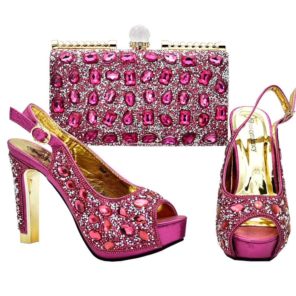 Nice shoes and bag to match women party african italian design shoe and bag african shoes bag set fushia pink color SB8201-3
