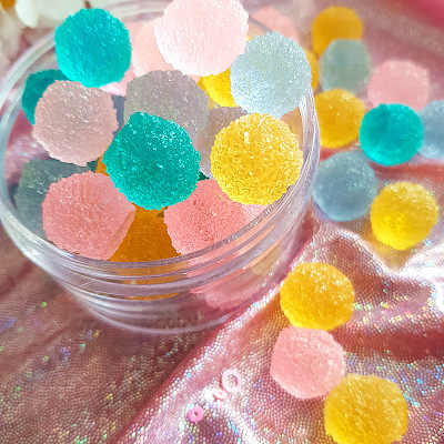 10Pcs Simulation Round Candy Filler for Clear/Fluffy Mud Box Popular Toys Kids Slime DIY Kit Accessories Modeling Clay