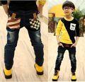 A la venta de 3-6 años de edad vaqueros 2016 otoño ropa de niños nueva moda muchachos jean con bolsillo estilo patchwork B008