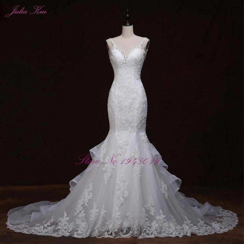 Liyuke cristales lujosos sirena vestido de novia Backless nupcial - Vestidos de novia