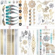 6 PCS/ lot temporary tattoo women gold tattoo flash tattoos transferable jewelry henna tatoo body taty product stickers tatto
