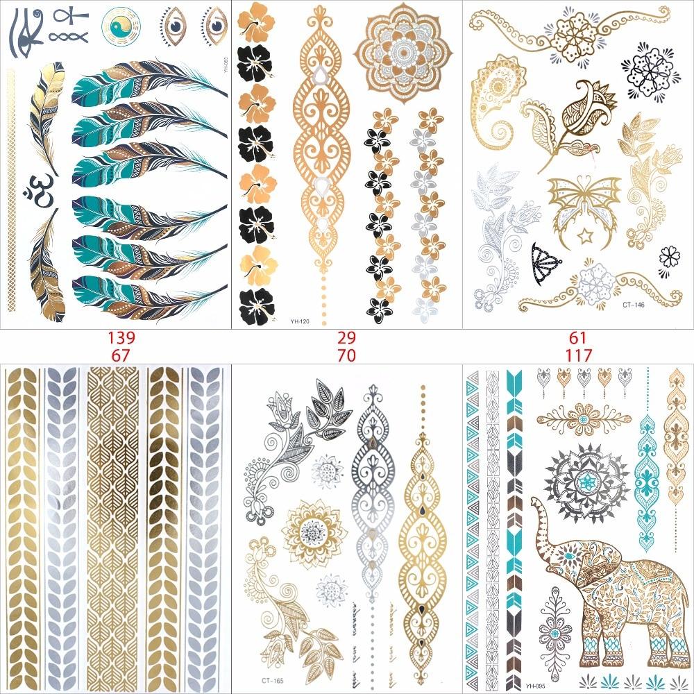 6 Шт./лот временные татуировки женщины золото вспышка татуировки тату татуировки переводной ювелирные тату хной тела продукта наклейки tatto