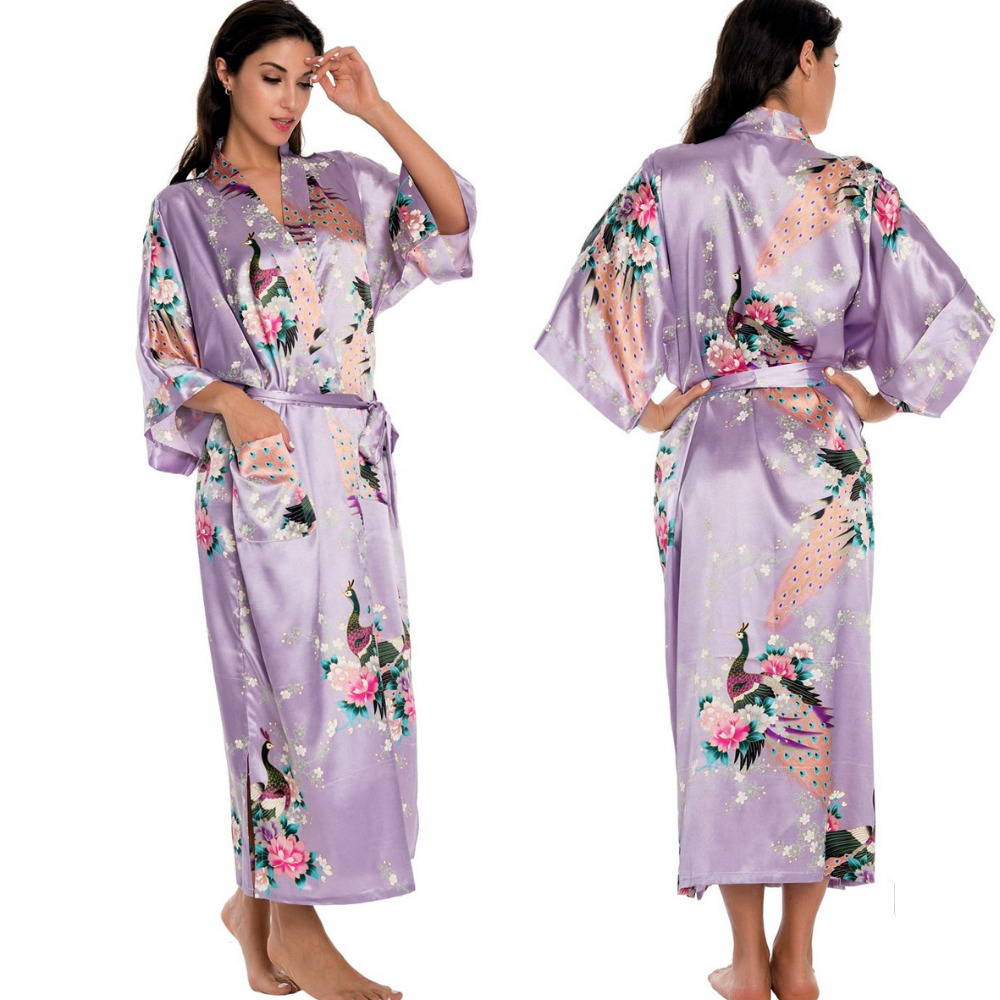 Light Purple Newest Women Lengthen Kimono Bathrobe Wedding Robe ...